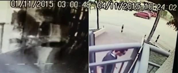 Vídeo registra entrada de Anderson no prédio às 3h de domingo e a saída às 10h24 de quarta (Foto: GloboNews/Reprodução)