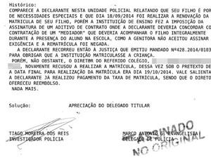 Boletim Ocorrência caso Escola Adventista Paulinia (Foto: Foto: G1 Campinas )