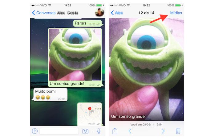 Acessando os arquivos de mídia trocados com um usuário no WhatsApp para iOS (Foto: Reprodução/Marvin Costa)