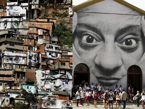 Trabalho do fotógrafo JR no Morro da Providência (Foto: AFP)