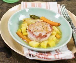 Lombo com batata-doce e molho de laranja