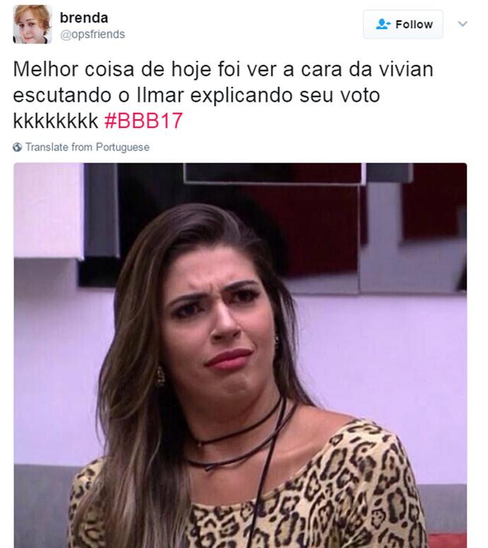 Tweet Vivian Paredão (Foto: Reprodução da Internet)