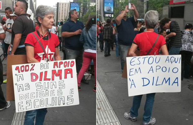 Manifestante levou faixas de apoio à presidente Dilma Rousseff (Foto: Gabriela Gonçalves/G1)