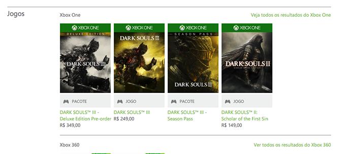 Busque por Dark Souls 3 na loja da Xbox Live (Foto: Reprodução/Murilo Molina)