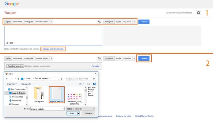 Traduza documentos usando o site do Google Tradutor (Foto: Reprodução/Barbara Mannara)
