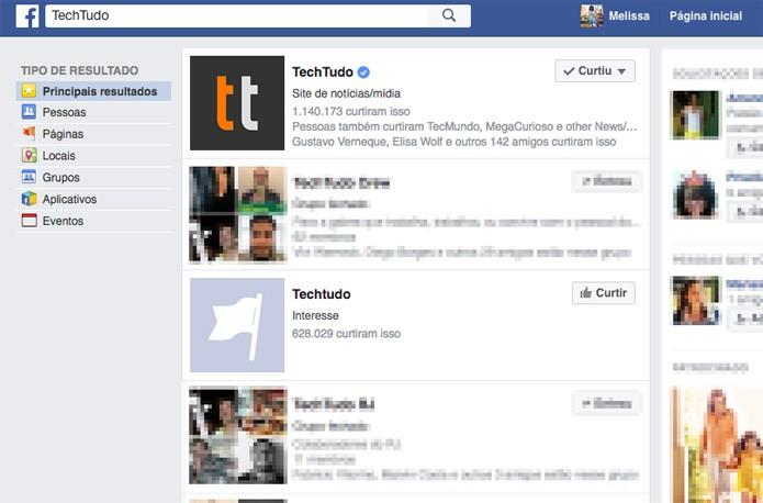 Filtros básicos de busca do Facebook em português (Foto: Reprodução/TechTudo)