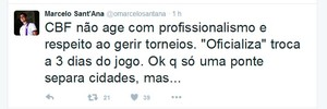Marcelo Sant'Ana; twitter; Bahia; CBF (Foto: Reprodução)