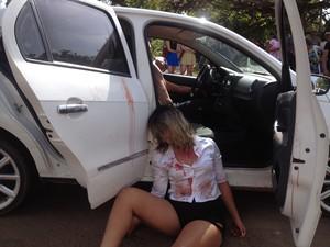 Polícia Militar simulou morte de casal a tiros no Centro da capital (Foto: John Pacheco/G1)