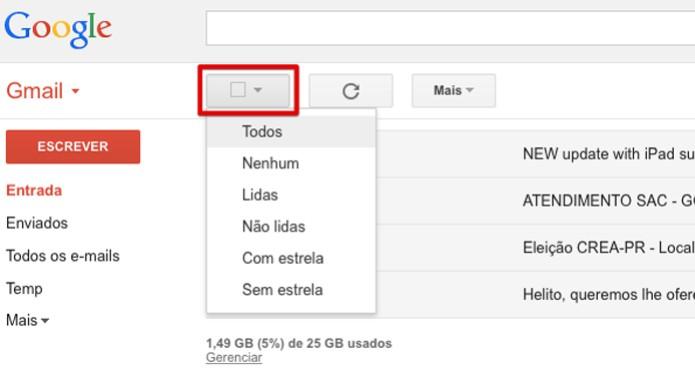 Caixa de seleção permite marcar várias mensagens de uma vez  (Foto: Reprodução/Helito Bijora)
