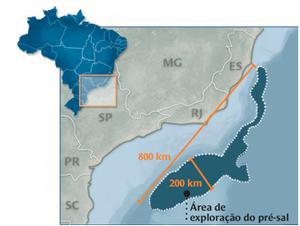 Mapa com pré-sal (Foto: G1)