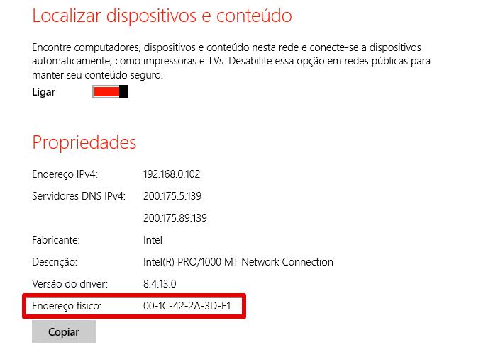Localizando o endereço MAC da placa de rede (Foto: Reprodução/Helito Bijora)