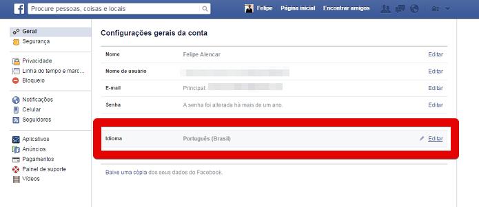 Acessando as configurações de idioma do Facebook (Foto: Felipe Alencar/TechTudo)