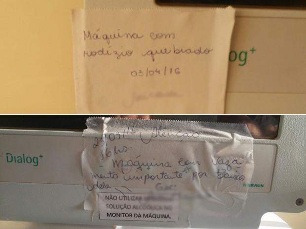 Avisos afixados a máquinas de hemodiálise quebradas e encostadas em hospital público do Distrito Federal (Foto: Arquivo Pessoal)