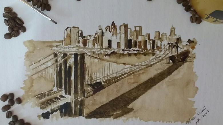Exposição apresenta quadros pintados com pó de café no Brasil e EUA