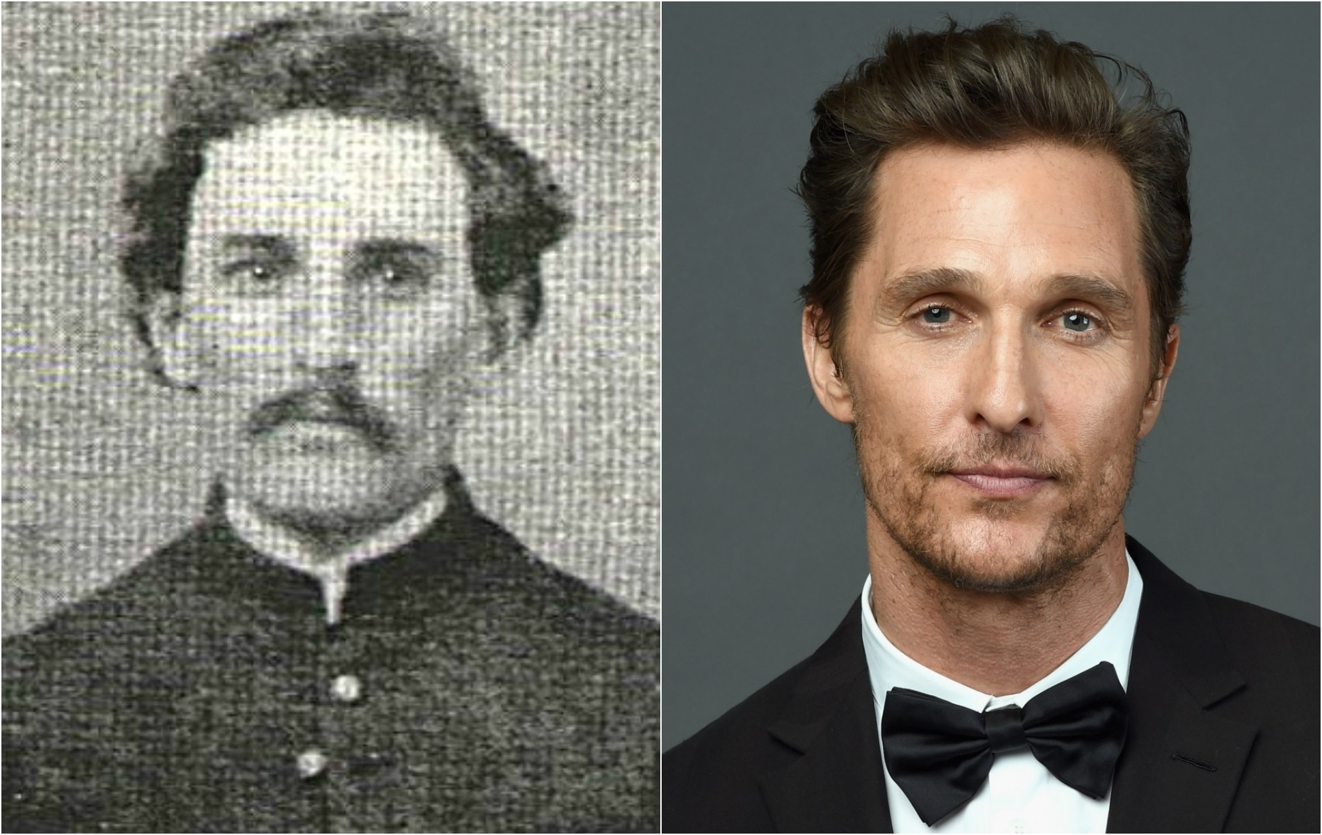 Matthew McConaughey e este anônimo que lutou na Guerra Civil Americana (1861-1865). (Foto: Library of Congress e Getty Images)
