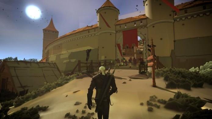 Geralt caminha por um mundo muito mais simples com o mod de desenho animado para The Witcher 3 (Foto: Reprodução/PC Gamer)