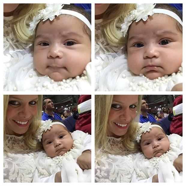 Filha de Naldo e Moranguinho com madrinha (Foto: Instagram / Reprodução)