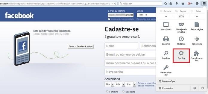 Caminho para abrir opções do Firefox (Foto: Reprodução/Raquel Freire)