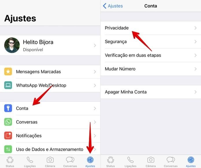 Acesse as configurações de privacidade (Foto: Reprodução/Helito Bijora)