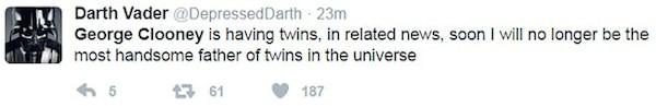 """Darth Vader deprimido com a gravidez de George Clooney e Amal Clooney : """"Não sou mais o pai de geemos mais bonito do universo' (Foto: Twitter)"""
