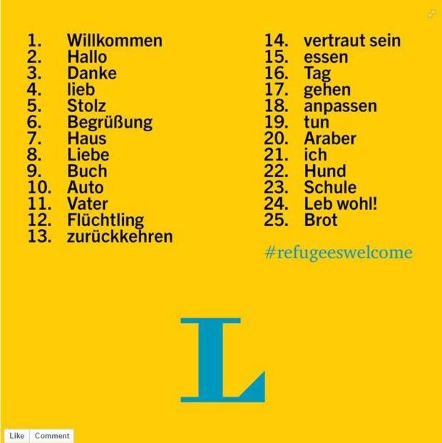 """Palavras mais buscadas no dicionário árabe-alemão incluem """"pão"""" e """"acolher""""  (Foto: BBC)"""