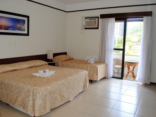 Quarto de hotel em Guarujá, SP (Foto: Divulgação)
