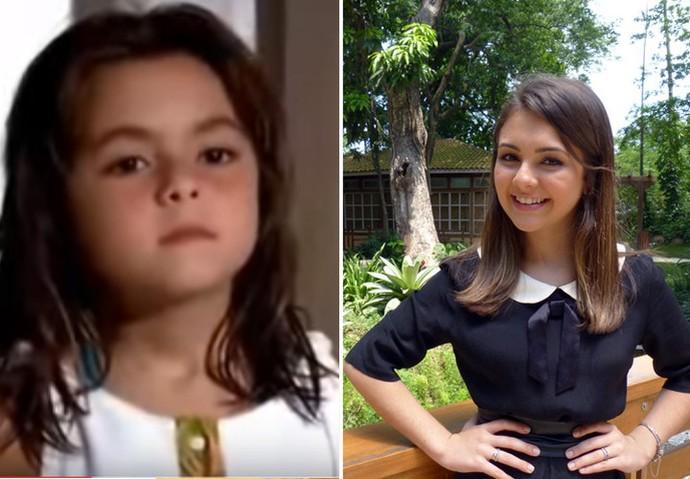 Klara Castanho em 'Viver a Vida' e hoje aos 16 anos  (Foto: TV Globo)