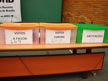 Urnas de votação usadas em assembleia de professores da UnB (Foto: ADUnb/Reprodução)