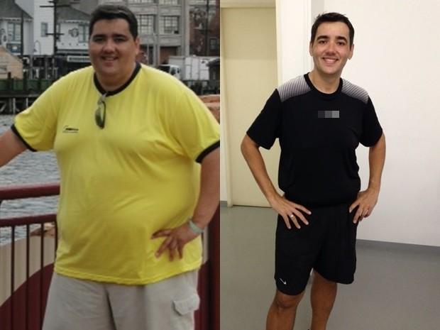 Fábio com 168 quilos e depois, com 92: meta é chegar aos 89 (Foto: Arquivo Pessoal)