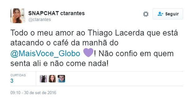 Thiago Lacerda 'se joga' em café do 'Mais Você' e internautas não perdoam  (Foto: Reprodução / Twitter)