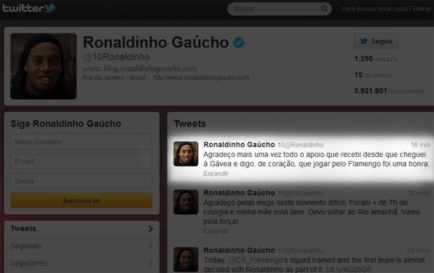 Twitter Ronaldinho gaúcho (Foto: Reprodução / Twitter)