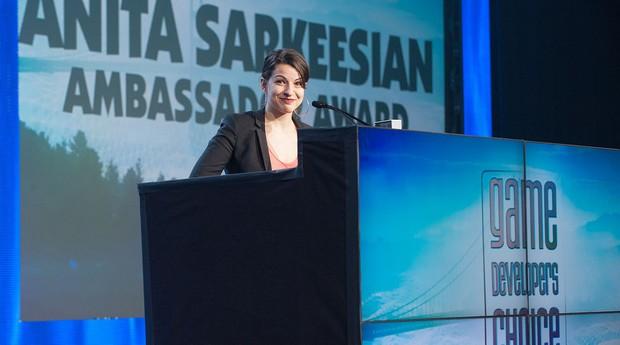 Anita durante o evento Game Developers Choice Awards 2014 (Foto: Reprodução)