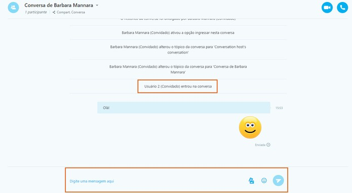 Envie mensagens de texto, emojis e imagens para seus contatos na conversa do Skype (Foto: Reprodução/Barbara Mannara)