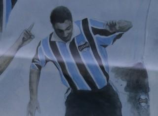 Roger Machado painel Arena do Grêmio (Foto: Eduardo Moura/GloboEsporte.com)