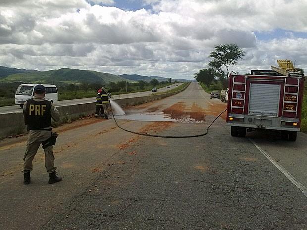 Bombeiros limpam trecho da pista após retirada de tijolos (Foto: Divulgação / PRF)