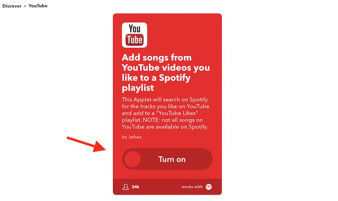 Página para acessar o serviço IFTTT que adiciona curtidas no YouTube em uma playlist do Spotify (Foto: Reprodução/Marvin Costa)