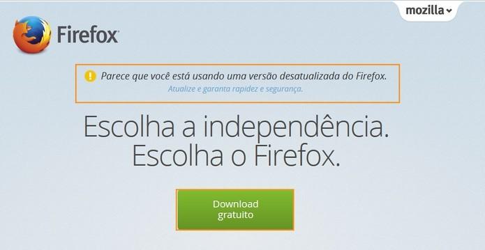 Acesse o site do Firefox e inicie o download da atualização (Foto: Reprodução/Barbara Mannara)