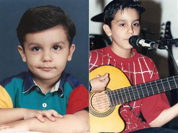 Luan posadinho em foto que parece de escola; e, do outro lado, maiorzinho com o violão (Foto: Arquivo pessoal cedido ao Sai do Chão)
