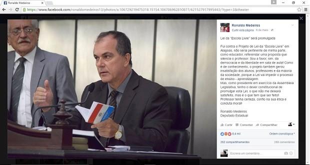 620 - Deputado estadual Ronaldo Medeiros publicou em sua  página no Facebook posicionamento contrário ao Escola Livre, mas disse que seria obrigado a promulgar a Lei (Foto: Reprodução/Facebook)