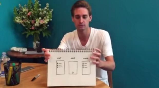 O CEO do Snapchat, Evan Spiegel, tenta explicar o que é o aplicativo (Foto: Reprodução/Youtube/Snapchat)
