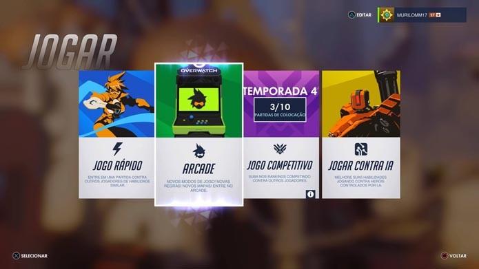 Selecione o modo Arcade de Overwatch (Foto: Reprodução/Murilo Molina)