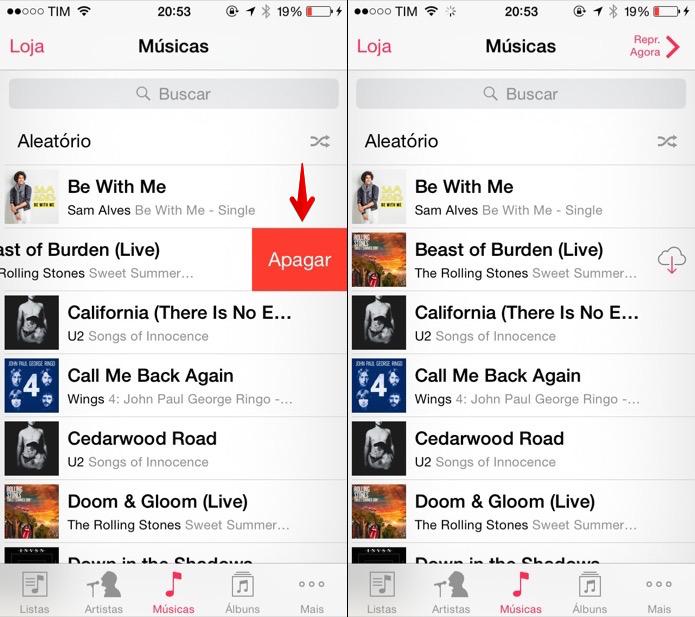 Apagando a música do iPhone (Foto: Reprodução/Helito Bijora)