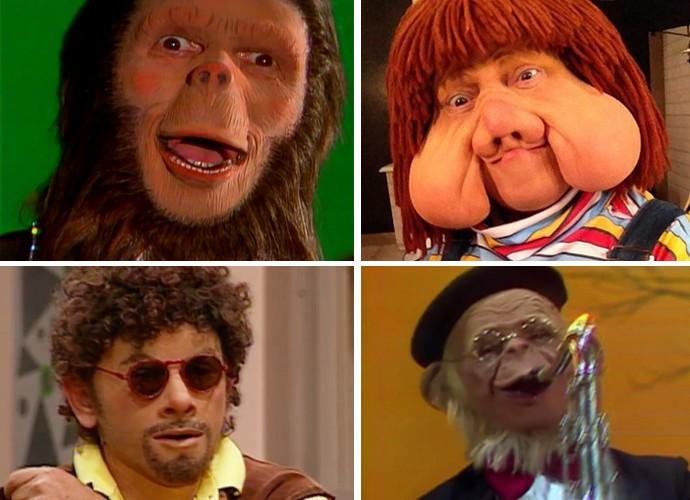 Charles, Fofão, Patropi e macaco Sócrates, todos personagens de Orival Pessini (Foto: TV Globo)