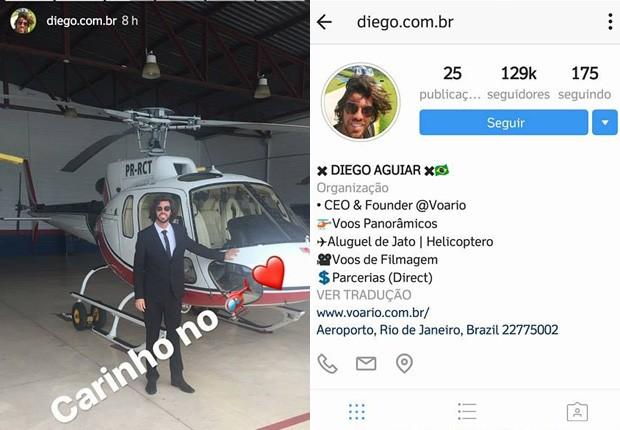 Mayla Araújo curtiu passeio de helicóptero com Diego Aguiar (Foto: Reprodução/Instagram)