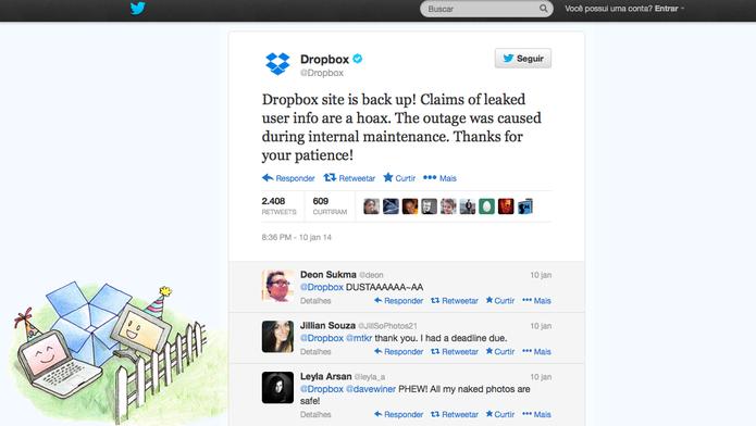 Dropbox enfrenta instabilidade e nega vazamento de dados dos usuários (Foto: Reprodução/Twitter)