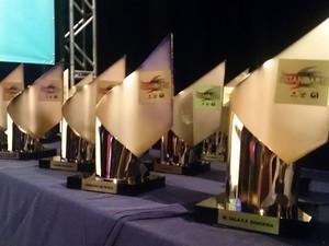 Troféus do Estandarte Santista foram entregues aos vencedores de cada categoria (Foto: LG Rodrigues/G1)