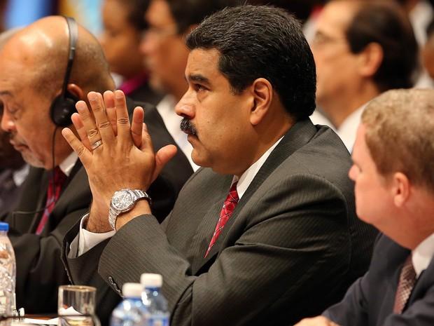 O presidente da Venezuela, Nicolás Maduro, participa neste sábado (4) da 7ª Cúpúla de Países Caribenhos, em Cuba (Foto: Alejandro Ernesto/Pool photo via AP)