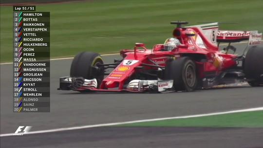 Problemas imprevisíveis com pneus na Ferrari foram diferentes para Kimi e Vettel