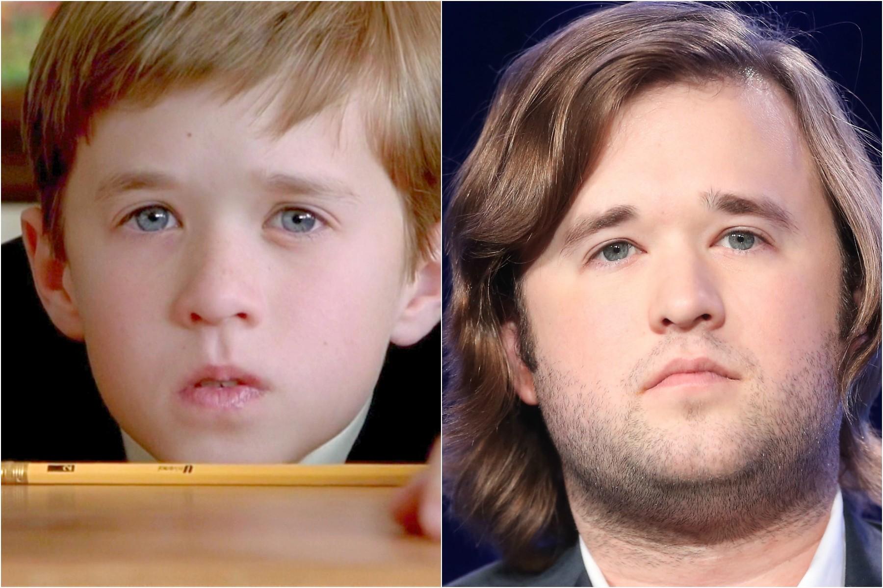 Haley Joel Osment aos 11 anos, em 'O Sexto Sentido' (1999), e hoje, com 26. (Foto: Divulgação e Getty Images)