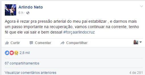 Filho de Arlindo Cruz pede orações (Foto: Reprodução do Facebook)